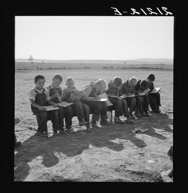 Eight boys at Lincoln Bench School. Born in six states. Near Ontario, Malheur County, Oregon. General caption number 69