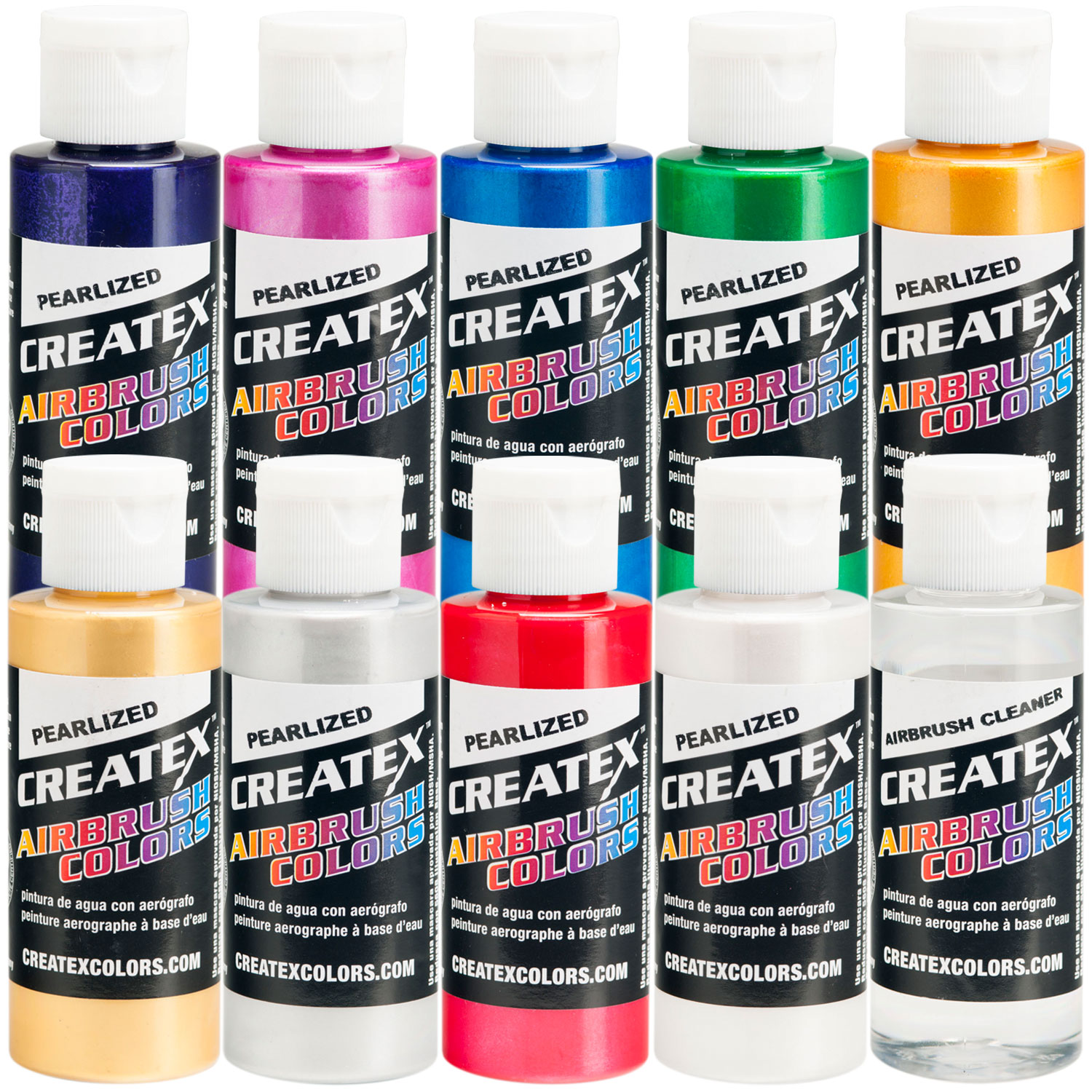 Createx 10 COLOR PEARLIZED SET Airbrush Paint Colors
