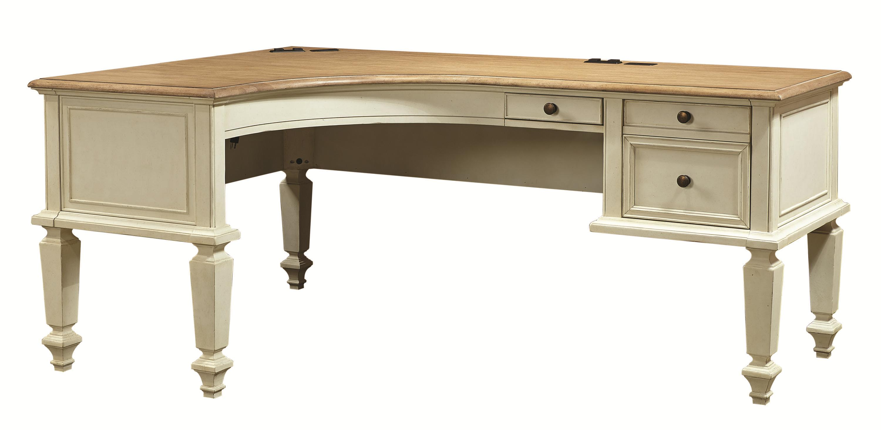 Curved Half Pedestal L-Shaped Desk with File Drawers by Aspenhome ...