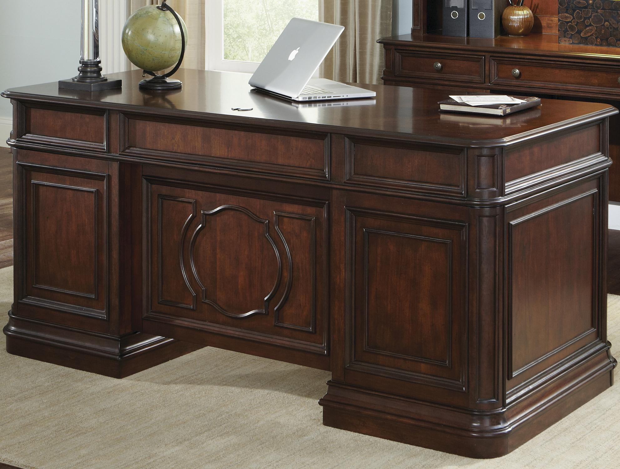 Traditional Executive Desk with 5 Drawers by Liberty Furniture ...