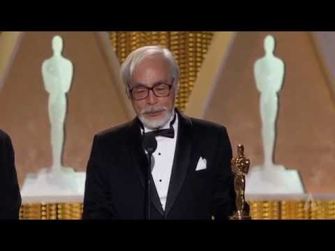 Hayao Miyazaki receives an Honorary Oscar at the 2014 Governors Awards
