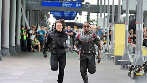 Winter Soldier and Falcon Running Away from Something on Set of Captain America: Civil War