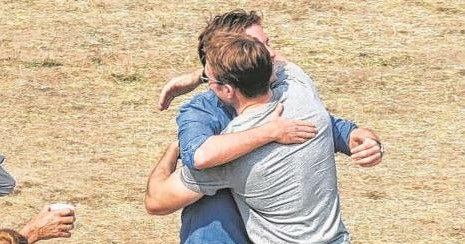 Steve Rogers and Baron Zemo Hug it out on Set of Captain America: Civil War