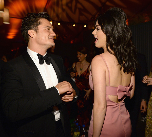 BEVERLY HILLS, CA - JANUARY 10:  Actor Orlando Bloom (L) and singer Katy Perry attend The Weinstein Company and Netflix Golden Globe Party, presented with DeLeon Tequila, Laura Mercier, Lindt Chocolate, Marie Claire and Hearts On Fire at The Beverly Hilton Hotel on January 10, 2016 in Beverly Hills, California.  (Photo by Kevin Mazur/Getty Images for The Weinstein Company)