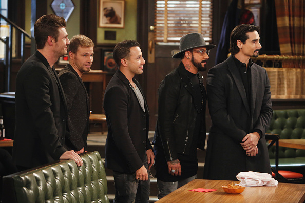 "UNDATEABLE -- ""The Backstreet Boys Walk Into a Bar"" Episode 312/313A -- Pictured: (l-r) Nick Carter, Brian Littrell, Howie Dorough, A. J. McLean, Kevin Richardson of the Backstreet Boys -- (Photo by: Adam Rose/NBC)"
