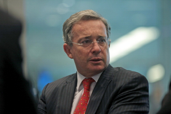 Alvaro Uribe, former president of Colombia, speaks during an interview in New York, U.S., on Wednesday, Oct. 5, 2011. Uribe, who served as president of Colombia from 2002 to 2010, concluded a year-long appointment last month as vice chairman of a United Nations panel investigating the May 2010 raid on a Gaza aid flotilla by Israeli soldiers. Photographer: Stephen Yang/Bloomberg via Getty Images