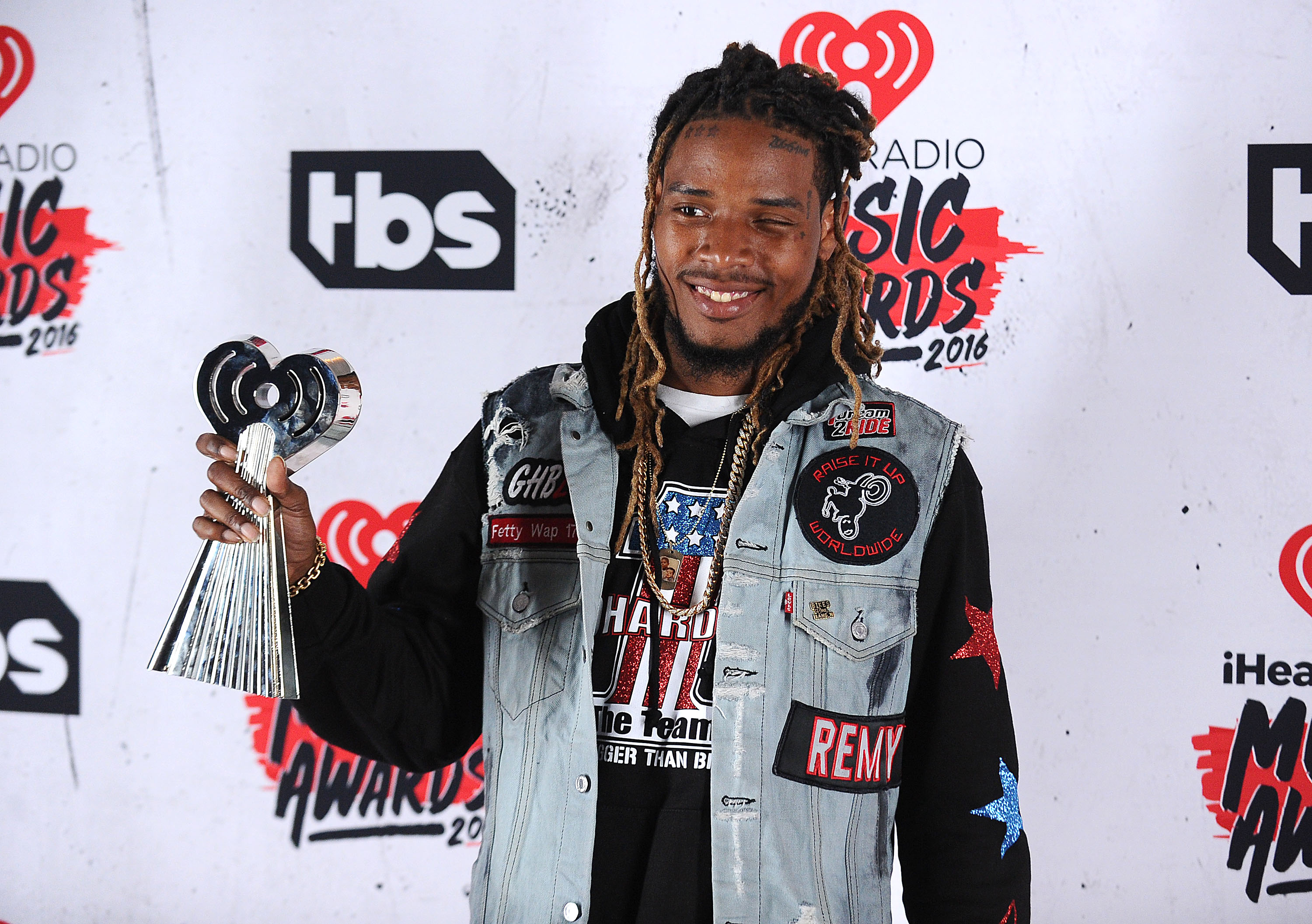INGLEWOOD, CALIFORNIA - APRIL 03: Fetty Wap poses in the press room at the iHeartRadio Music Awards at The Forum on April 3, 2016 in Inglewood, California. (Photo by Jason LaVeris/FilmMagic)