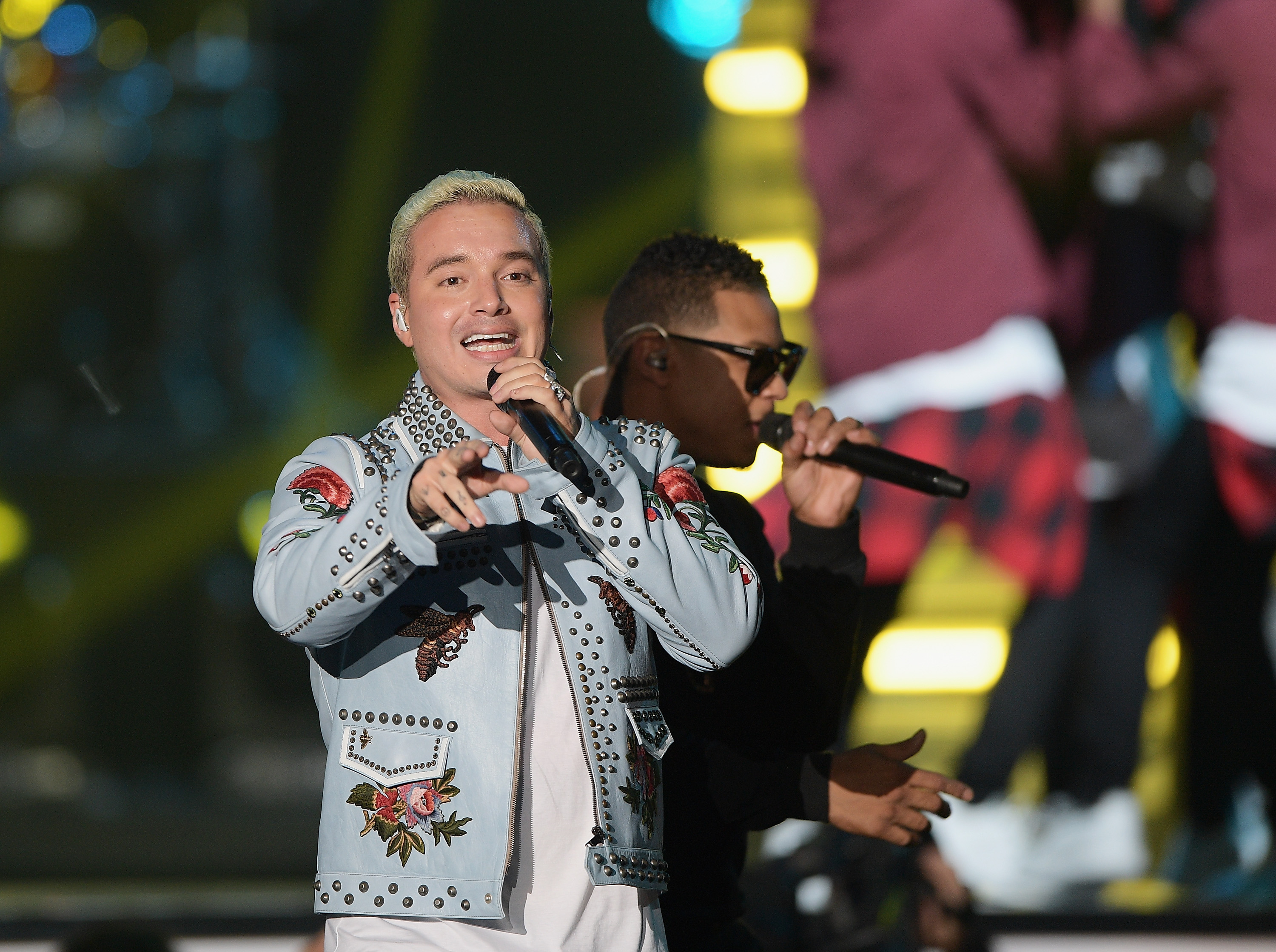 MIAMI, FL - APRIL 28: Fuego and J Balvin performs onstage at the Billboard Latin Music Awards at Bank United Center on April 28, 2016 in Miami, Florida. (Photo by Rodrigo Varela/Getty Images)