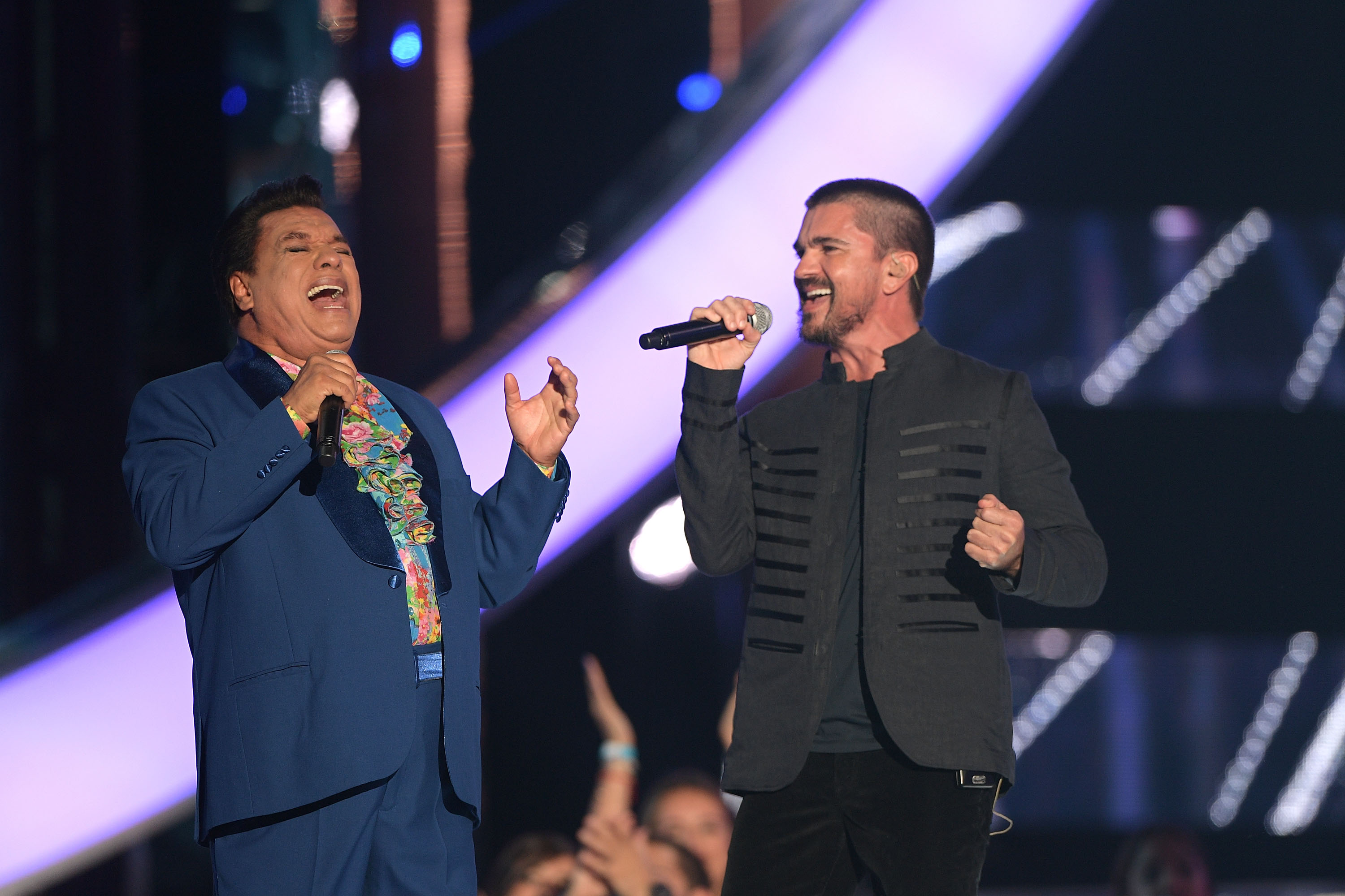 MIAMI, FL - APRIL 28: Juan Gabriel and Juanes performs onstage at the Billboard Latin Music Awards at Bank United Center on April 28, 2016 in Miami, Florida. (Photo by Rodrigo Varela/Getty Images)
