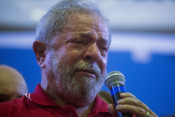 SAO PAULO, BRAZIL - MARCH 4: Former President of Brazil, Luiz Inacio Lula da Silva, during a during rally for hundreds of people at the Partido dos Trabalhadores headquarters on March 4, 2016, in Sao Paulo, Brazil. Lula is accused of corruption and embezzlement in the Federal Police investigation involving fraud at Petrobras company. (Photo by Victor Moriyama/Getty Images)