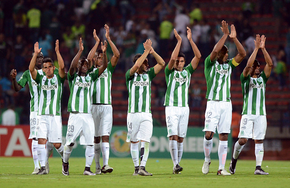 MEDELLIN, COLOMBIA - MARCH 01:  Players of Atletico Nacional celebrate at the end of a match match between Atletico Nacional and Sporting Cristal as part of Copa Libertadores 2016 at Atanasio Girardot Stadium on March 01, 2016 in Medellin, Colombia. (Photo by Luis Ramirez/LatinContent/Getty Images)