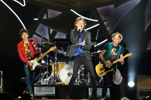 AUCKLAND, NEW ZEALAND - NOVEMBER 22: Ronnie Wood (L) Mick Jagger (C) and Keith Richards (R) on stage as The Rolling Stones perform live at Mt Smart Stadium on November 22, 2014 in Auckland, New Zealand. (Photo by Fiona Goodall/Getty Images)
