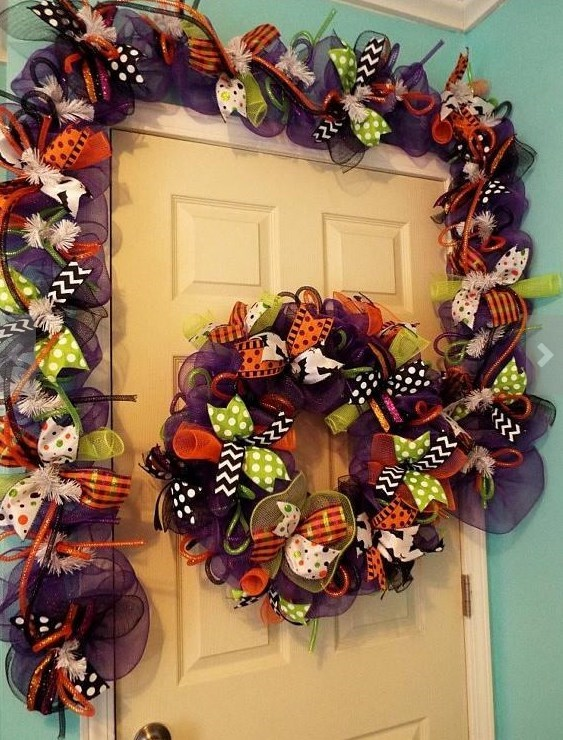 this halloween garland is the one of a kind piece this festive holiday created with a purple deco mesh ruffles and twists in blackorange and purple deco - Deco Mesh Halloween Garland