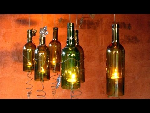 Recycled Wine Bottles Built Into A Hurricane Candle Holder, Do it yourself Movie Crafts,decorating Ideas