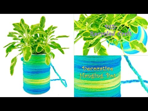 Chic Hanging Plant Pot in 10 Minutes! ~Earth Day DIY Project Using Recycled Can~
