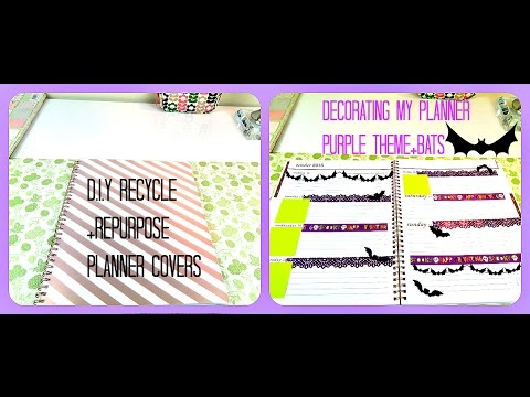 DIY Recycle+Repurpose Planner Covers+Decorate With Me Mead Rose Gold Planner: Purple Theme+Bats