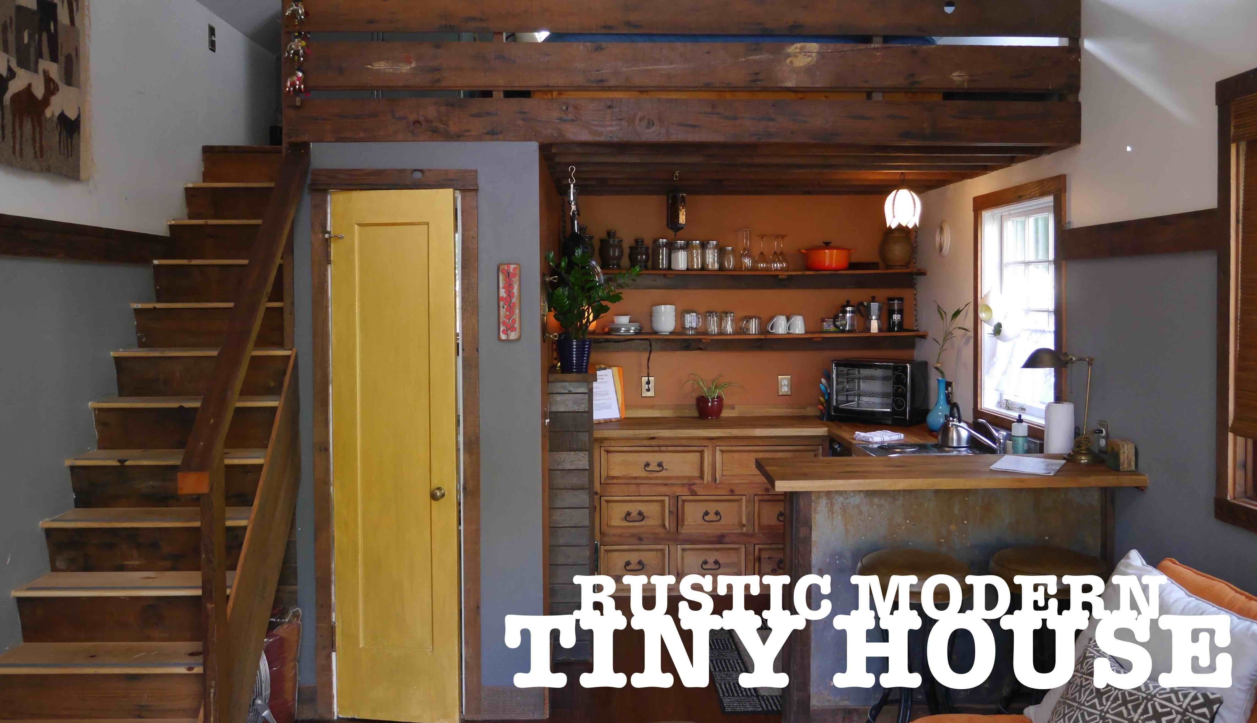 Garage turned into a tiny house the rustic modern in for Small house with garage