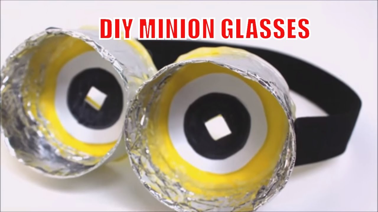Diy recycled crafts how to make funny minion glasses for Making glasses from bottles