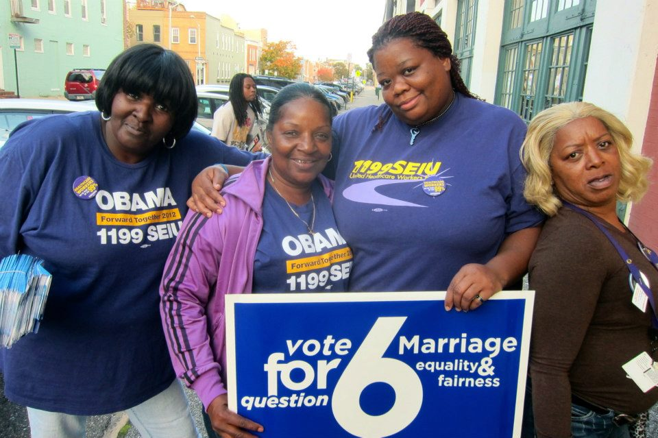 Marriage supporters in Maryland prepare for a campaign event to protect the freedom to marry.