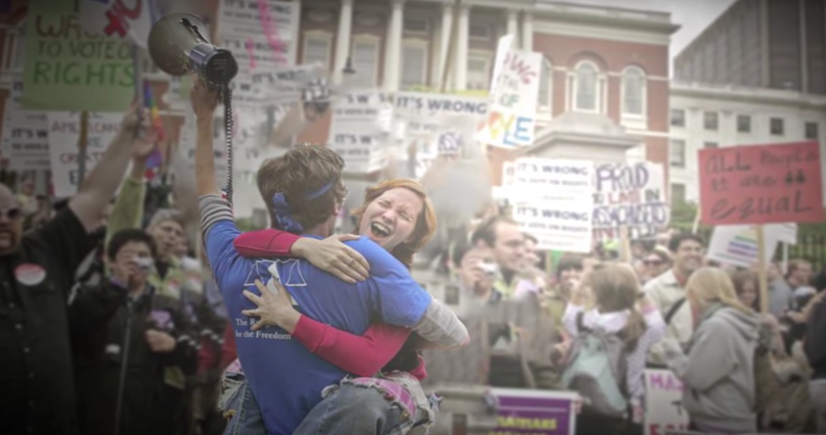 Supporters celebrate victory for the freedom to marry in Massachusetts.