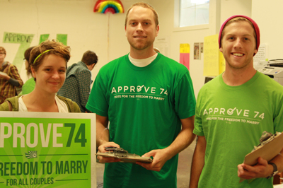 Washington United for Marriage canvassers helped get the word out about the campaign to win marriage for same-sex couples in Washington.