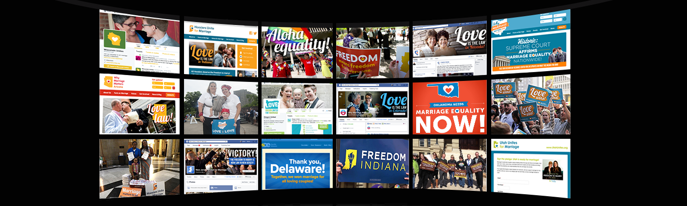 Over several years, Freedom to Marry's Digital Action Center built and supported daily content for dozens of state campaigns.