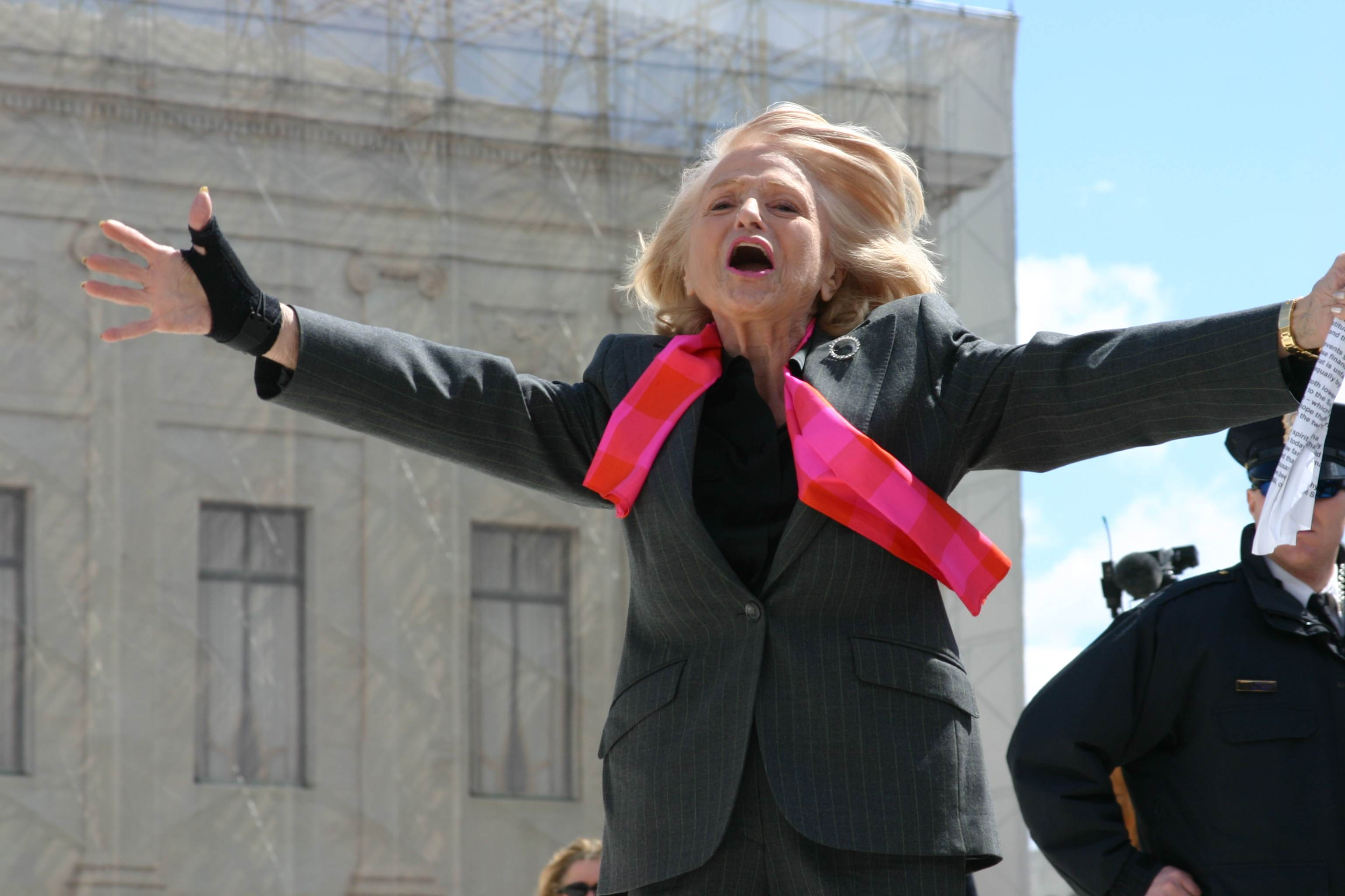 Plaintiff Edie Windsor celebrates the 2013 Supreme Court ruling that gutted the Defense of Marriage Act.