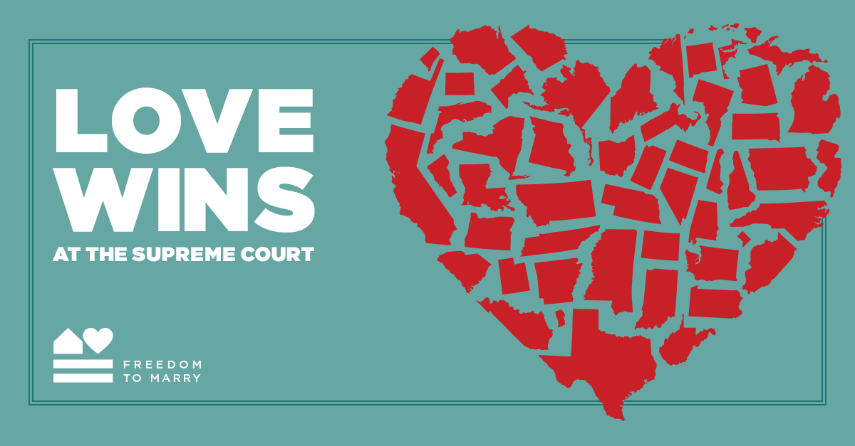 Freedom to Marry posted this graphic to Facebook following the U.S. Supreme Court ruling striking down marriage bans nationwide. The post was shared more than 40,000 times.