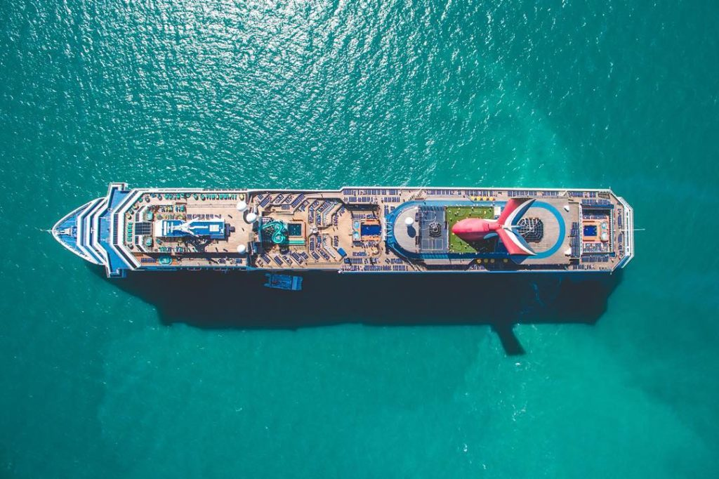drone shots of cruise ships