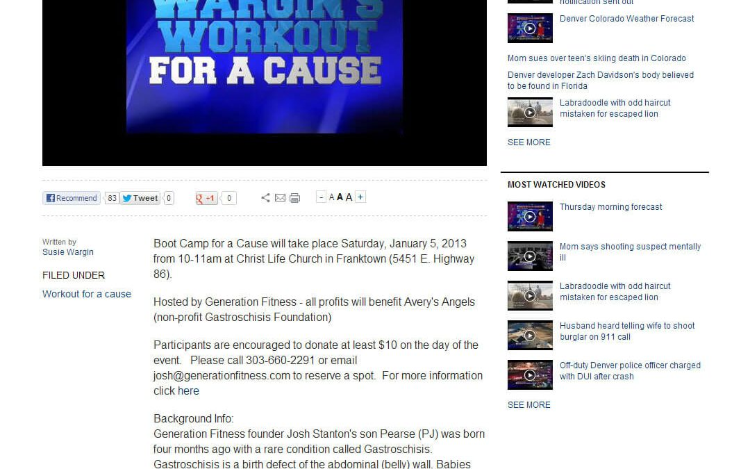 9 News Article (January 2013) Boot Camp for a Cause.