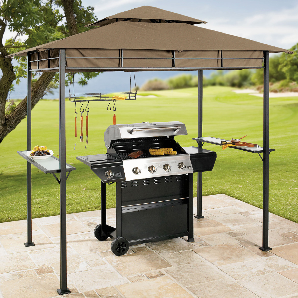 GreenHome123 Outdoor Gabzebo for Grilling BBQ Grill with Vented Canopy Tent at Sears.com