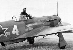 The French pilot of the Normandie-Nieman Air Regiment, Lieutenant Marchi Roger, is in the cockpit of his Yak-3. At the end of the war Marchi Roger was credited with 13 downed German aircraft.jpg