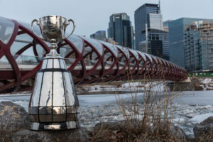 CALGARY, AB - APRIL 2018: The Grey Cup in Alberta, promotional photo shoot. (Photo by Bret Kenworthy/Calgary Stampeders)