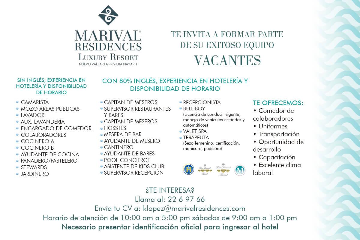 Vacantes Marival Residences Nuevo Vallarta 14 JULIO 2017