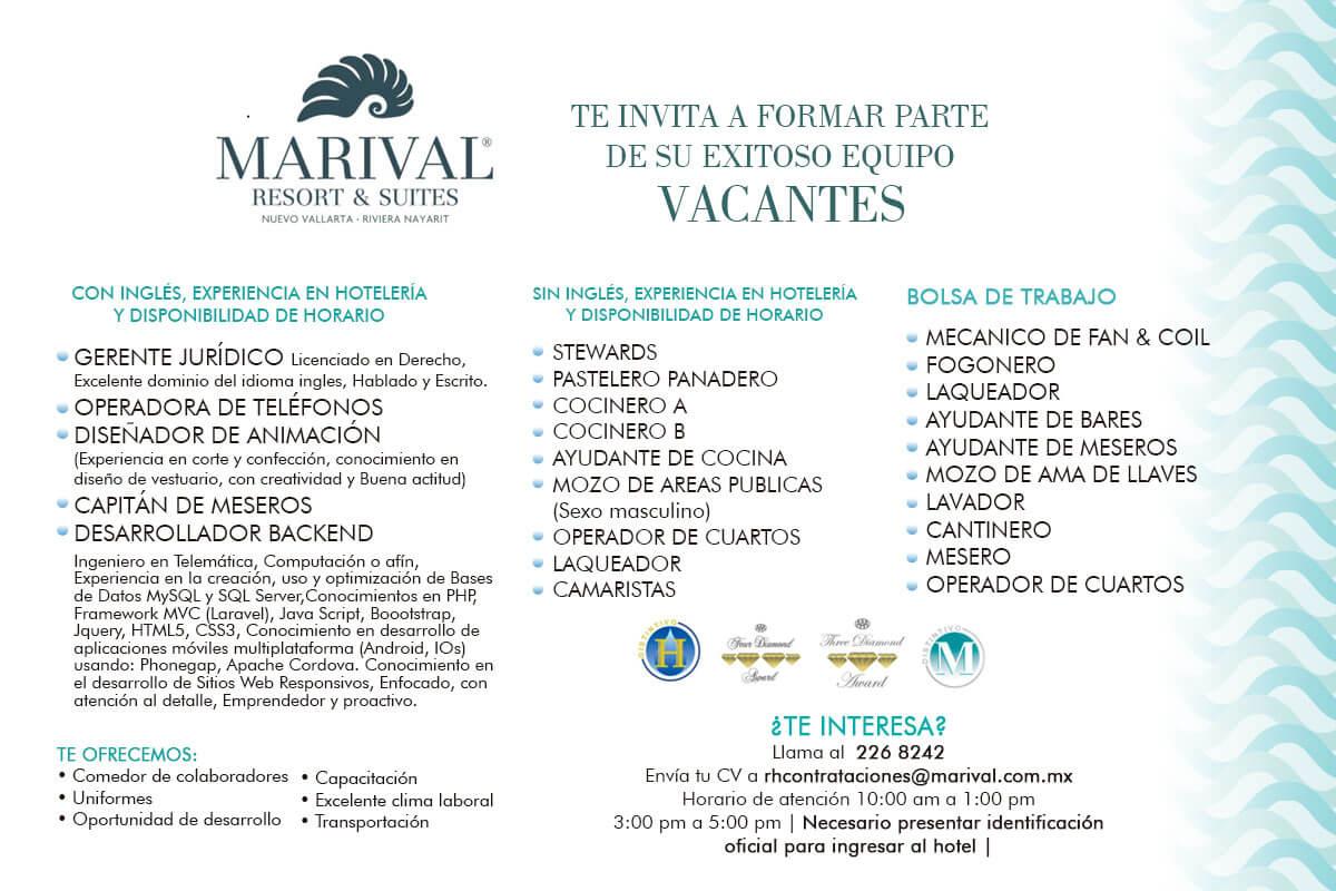 Vacantes Marival Resort Nuevo Vallarta 14 JULIO 2017