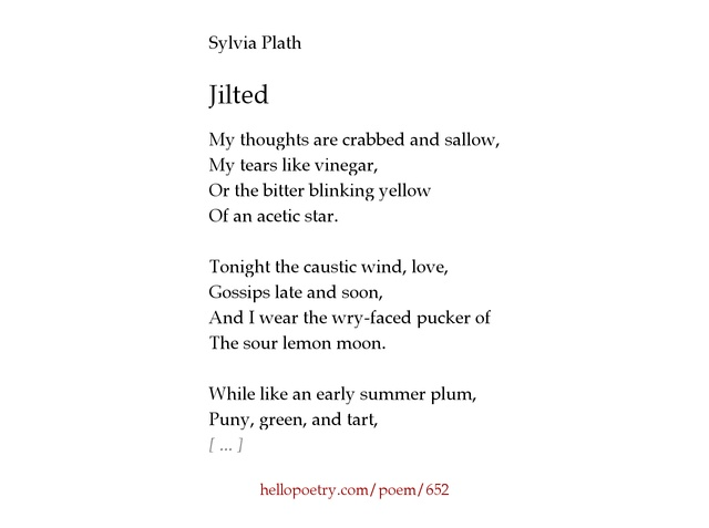 an analysis of the poem metaphors by sylvia plath Sylvia plath - poet - the author of several collections of poetry and the novel the bell jar, sylvia plath is often singled out for the intense coupling of violent or disturbed imagery with the playful use of alliteration and rhyme in her work.