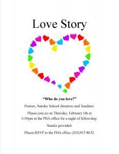 Love Story Event (Sunday School training) @ PBA