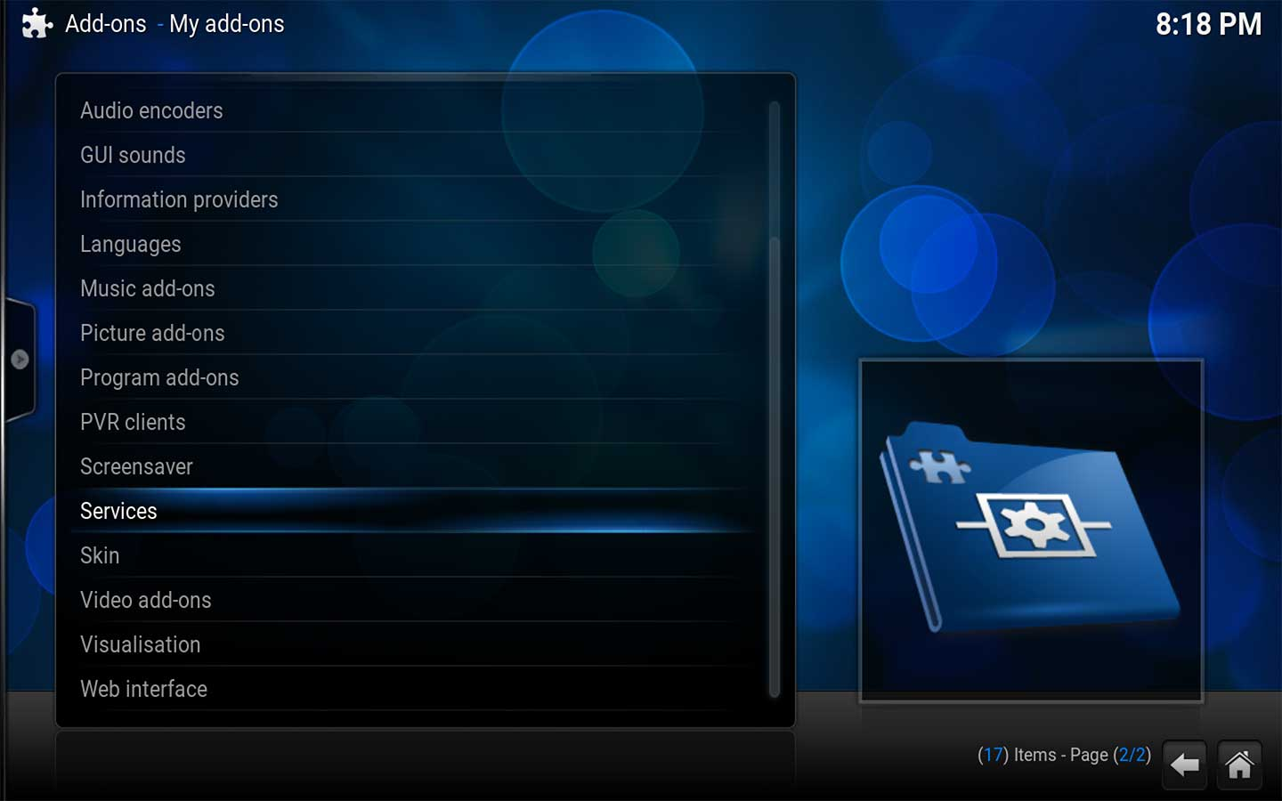 Select Services in Kodi