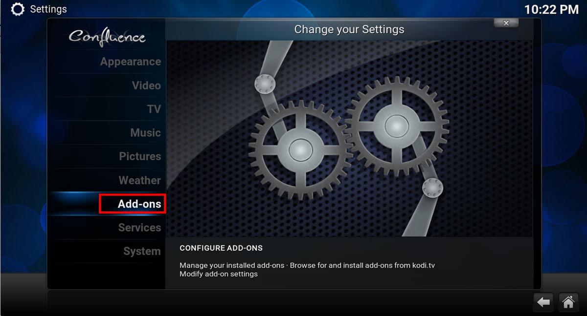 Select ADD-ONS in Kodi