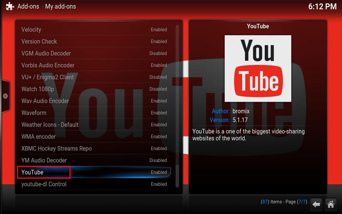 YouTube Addon in Kodi