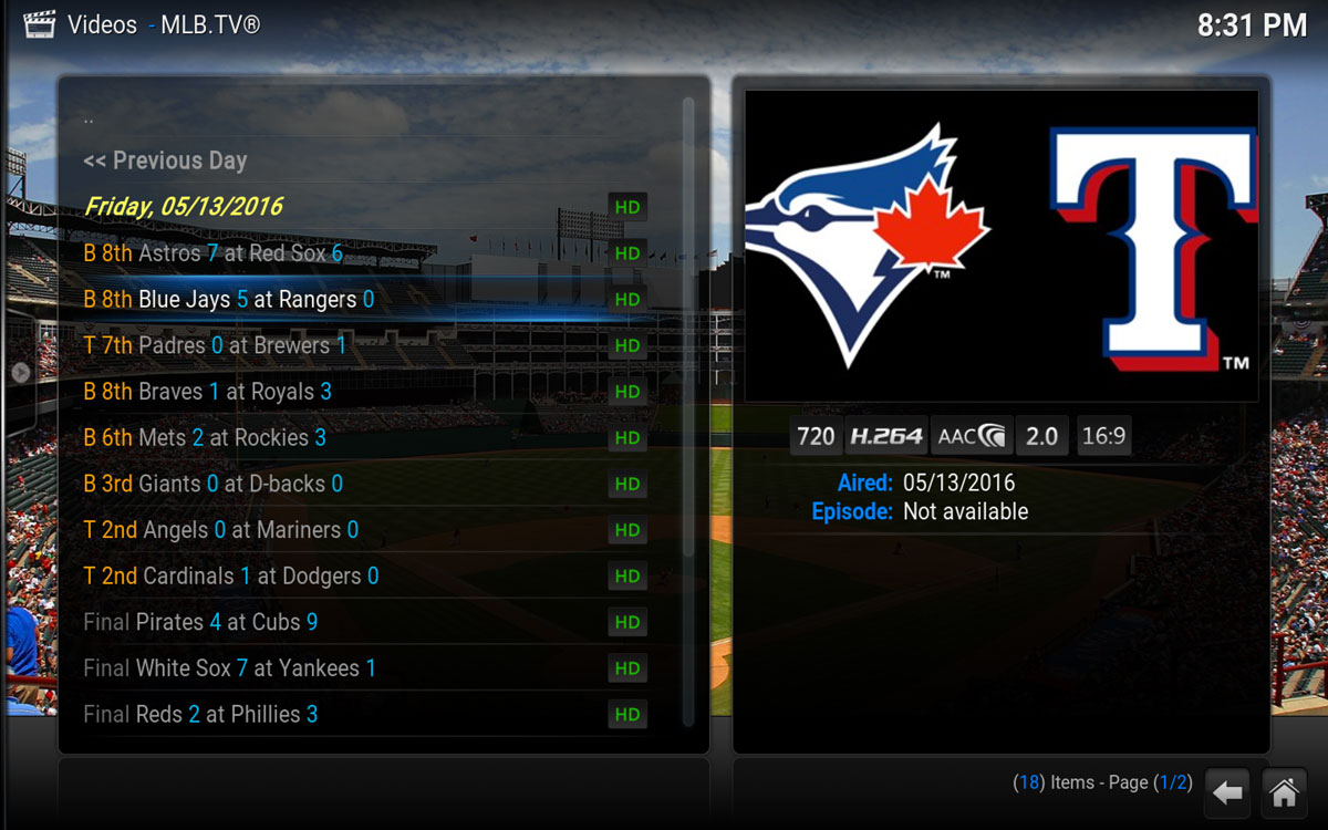 All the MLB games being played in the Kodi Addon