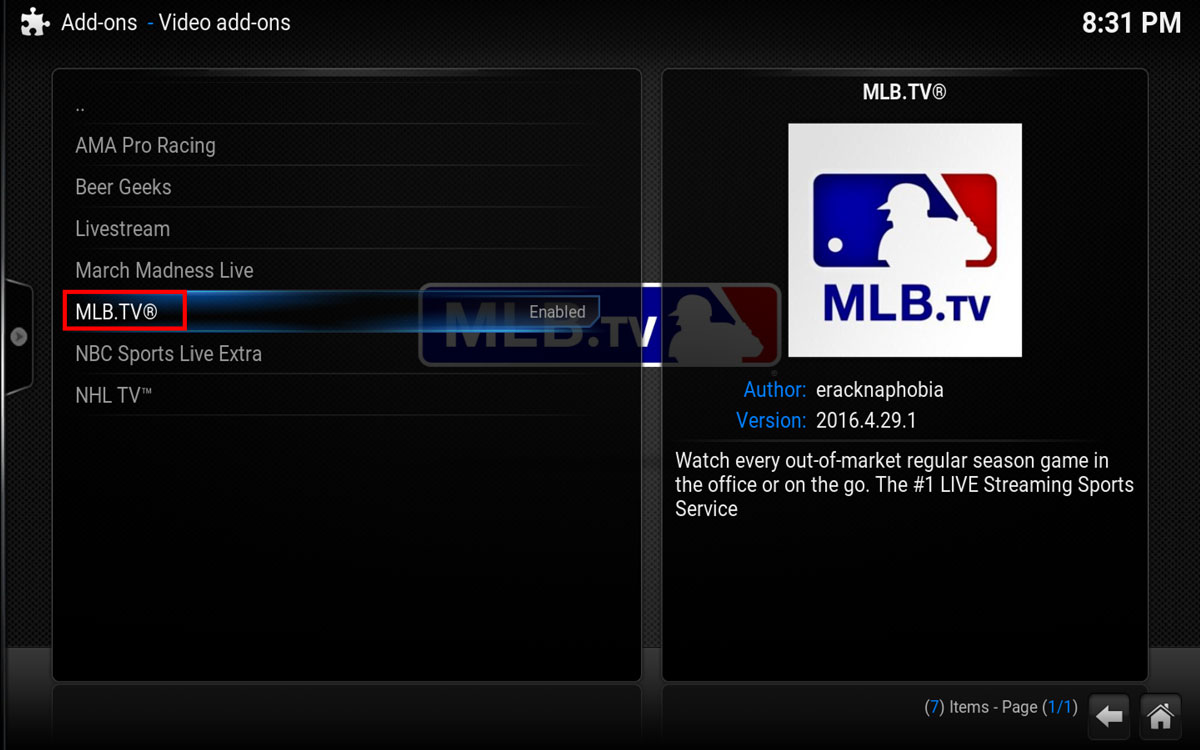 Select MLB.TV and hit Install