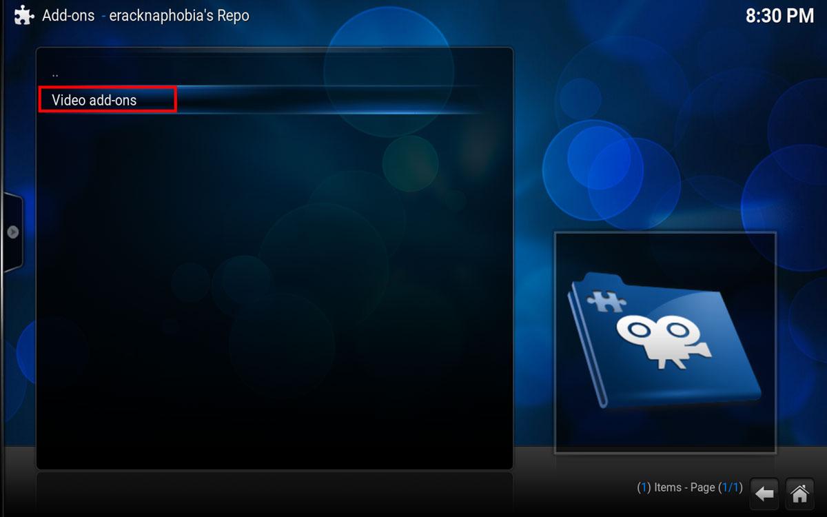MLBTV in Kodi, select Video Add-Ons