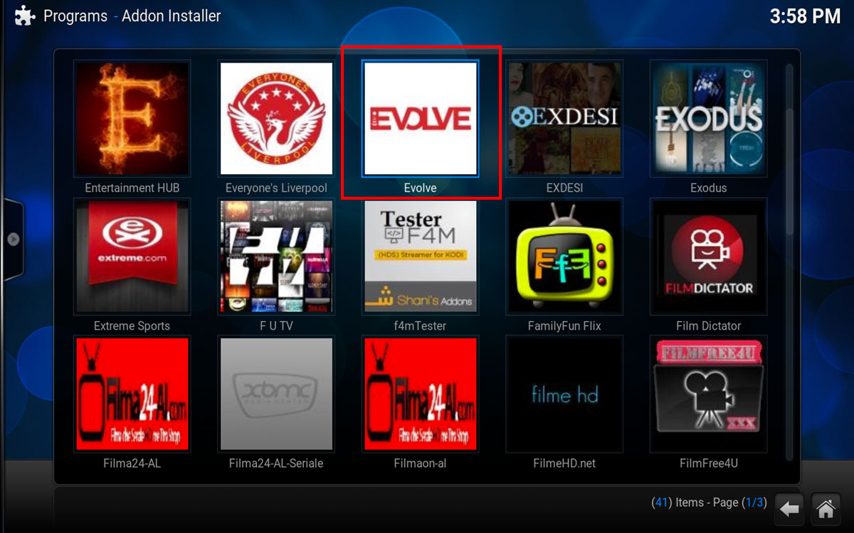 How To Install Evolve in Kodi Step 3
