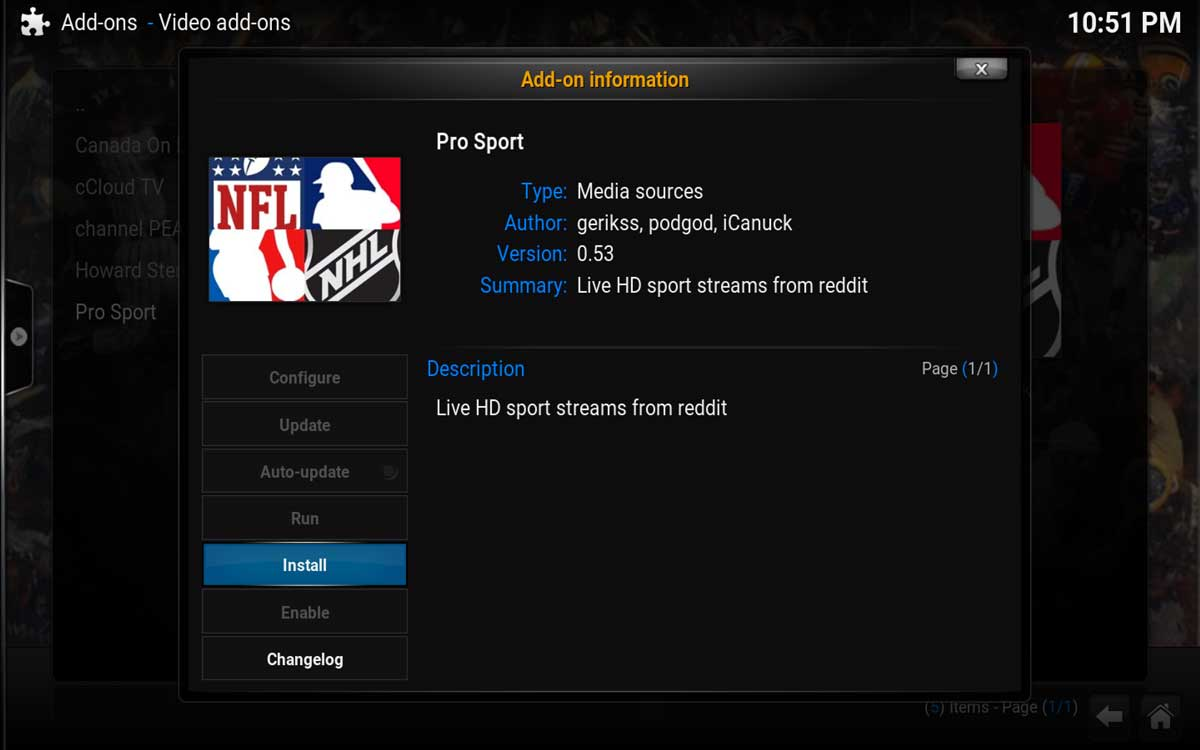 Final step to install Pro Sport