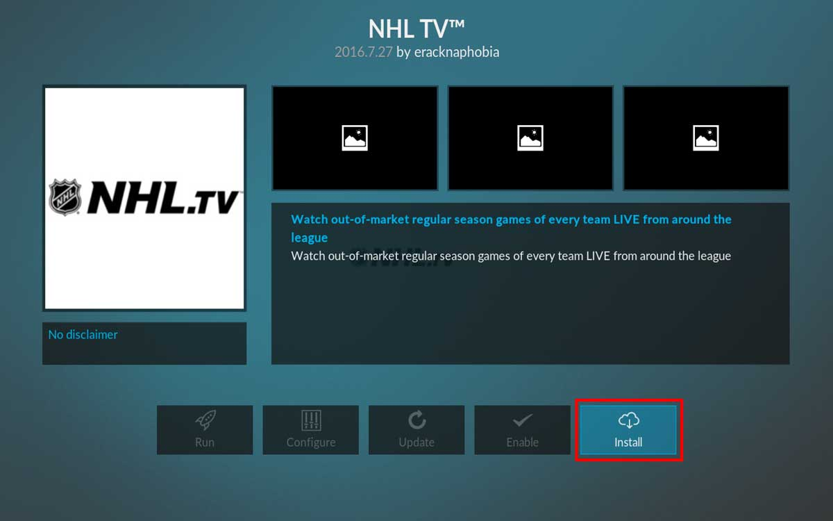 Installing NHL hockey in Kodi, step 10