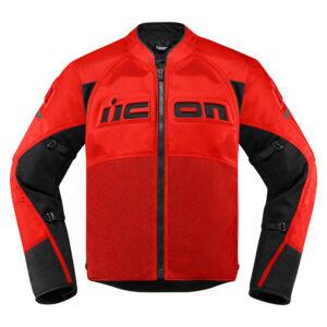 Medium ICON MotoSports MERC CRUSADER Textile Motorcycle Jacket Red M