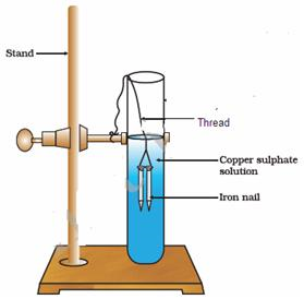 As Seen In The Figure Two Nails Are Carefully Dipped Copper Sulphate Solution With Help Of Threads What Will Happen When Removed