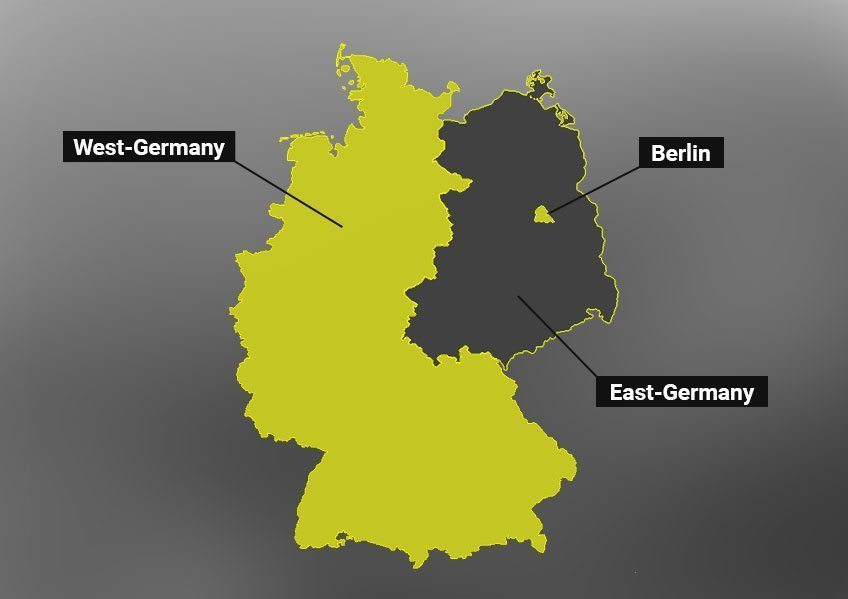 Map of East & West Germany with Berlin in Yellow.