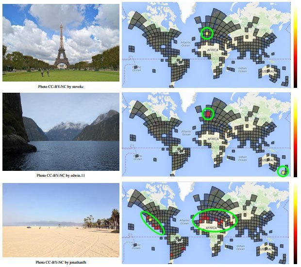Photos shown to PlaNet (left) and the resulting probability distribution showing where the photo was likely taken (right).